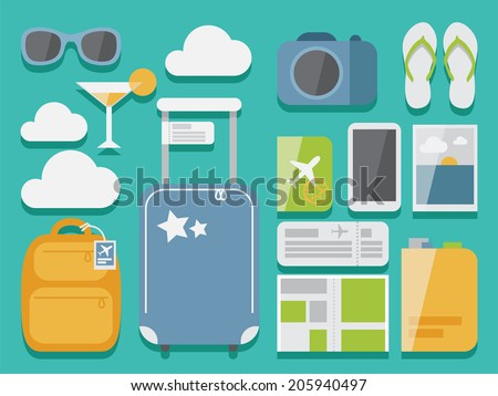 Travel flat vector set of objects with shadow on background , modern design style, objects for traveling and tourism illustrations
