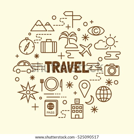 travel minimal thin line icons set, vector illustration design elements