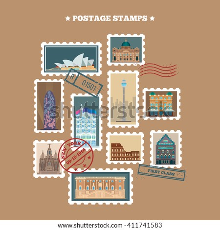 Travel Postage Stamps. Famous Buildings. Time to Travel. Vector illustration