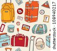 Travel seamless background. Hand drawn Suitcases vintage pattern. - stock photo