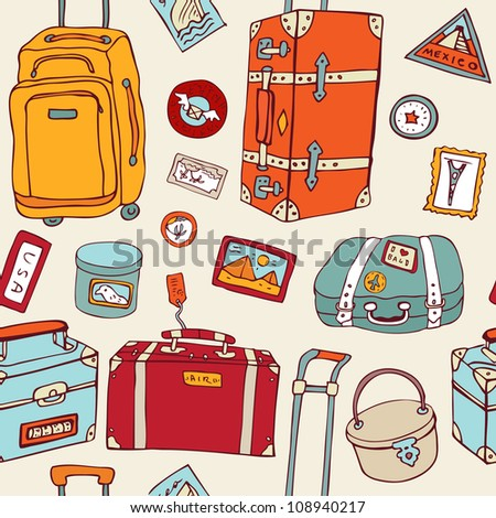 Travel seamless background. Hand drawn Suitcases vintage pattern.