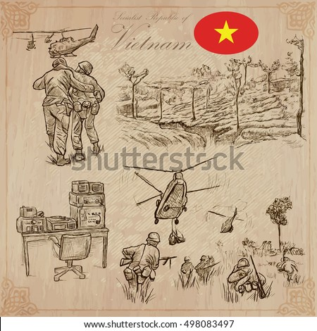 Travel series, VIETNAM - WAR. Socialist Republic of Vietnam - Pictures of war conflict. Vector collection of an hand drawn illustrations, set. Pack of hand drawn illustrations.