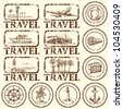 travel stamp, mark - hand drawn collection - stock vector