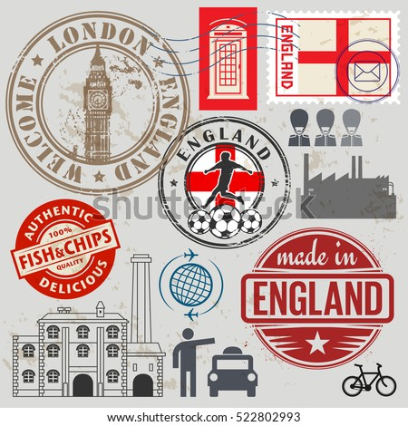 Travel stamps or symbols set, England and London theme, vector illustration
