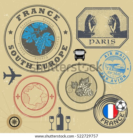 Travel stamps or symbols set, France theme, vector illustration