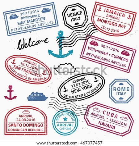 Travel stamps set vector - grunge fictitious passport visas for cruise ship destinations.