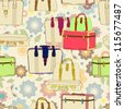 travel suitcases seamless illustration with floral patter,vector - stock photo