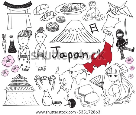 Travel to Japan doodle drawing icon with culture, costume, landmark and cuisine tourism concept in isolated background, create by vector