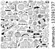 Travel,transportation - doodles set - stock vector