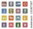 Travel, Vacation & Recreation, icons set - Retro color version, vector illustration - stock photo