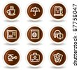 Travel web icons set 4, chocolate buttons - stock vector