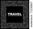 TRAVEL. Word collage on black background. Vector illustration. Illustration with different association terms. - stock vector