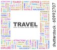 TRAVEL. Word collage on white background. Illustration with different association terms. - stock vector