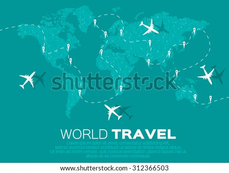 World Map Airline Airplane Flight Path Stock Vector