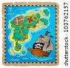 Treasure map theme image 2 - vector illustration. - stock vector