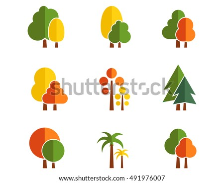 tree autumn colorful nine icons set isolated on concept nature flat design style on white background