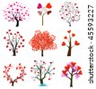 Tree love vector, wedding icons - stock vector