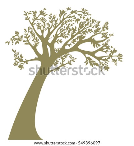 Tree silhouette isolated on white background. Vector illustration.