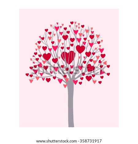Tree with hearts. Valentine's Day vector illustration.