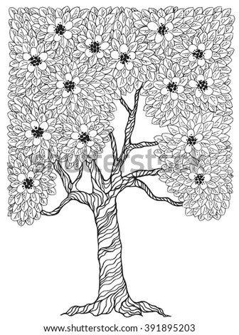 Tree with leaves in a stylized style