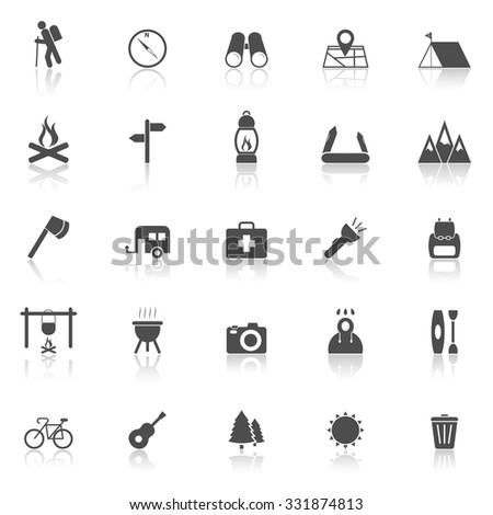 Trekking Line Icons Reflect On White 스톡 벡터 334621868 - Shutterstock