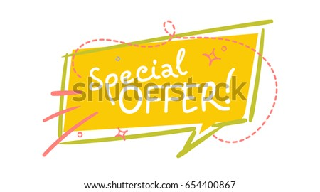 Trendy Sale Speech Bubble With Special Offer Handwritten Text Flat Square Shape Comic And