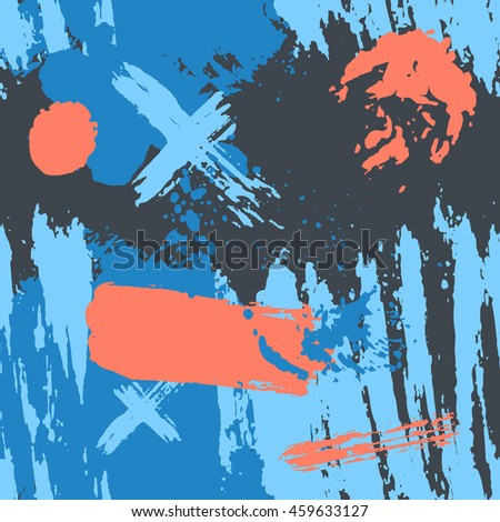 Trendy seamless wallpaper with hand painted with a brush. Hand drawn geometric pattern textures made with ink. Blue abstract background. Sketch abstraction spot, swirl decor and crosses.