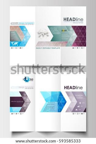 simple tri fold brochure template - design abstract vector brochure template flyer stock