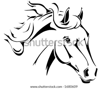 Tribal horse head design, perfect for logo or tattoo, vector in .eps format