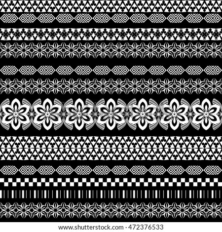 Tribal seamless pattern. Abstract background with ethnic ornament. Seamless background with different geometric shapes. Vector illustration