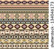 Tribal striped seamless pattern. Geometric multicolor background. Vintage soft colors. Swatches of seamless pattern included in the file. - stock vector