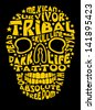 tribal tattoo slogan skull vector art - stock vector