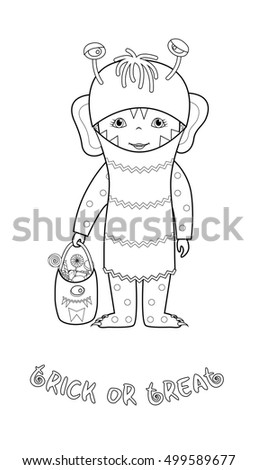 trick or treat halloween cartoon vector coloring page with cute kid in monster costume with bag