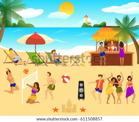 Tropical Beach Elements Set With People Sitting In Chaise Longue Dancing Playing Volleyball And Drinking Cocktails