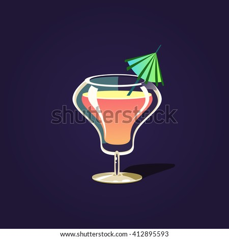 Tropical Cocktail Outlined Flat Vector Sticker In Cartoon Design Isolated On Dark Background