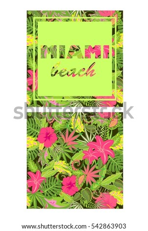 Tropical colorful wallpaper with exotic leaves and flowers and print with Miami lettering