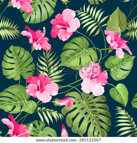 Tropical Flower Seamless Pattern Blossom Flowers For Nature Background Vector Illustration