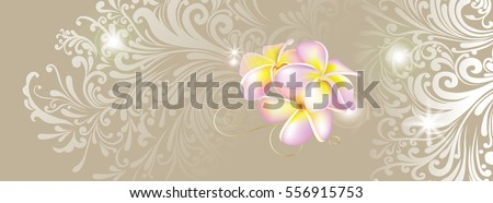 Tropical flowers on floral background