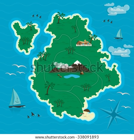 Tropical island in the blue sea. Headline Summer.  Vector illustration EPS 10