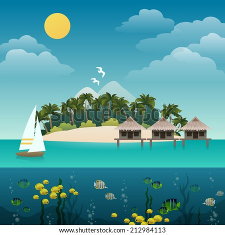 Tropical Island Sea View With Yacht Sandy Beach Background Vector Illustration