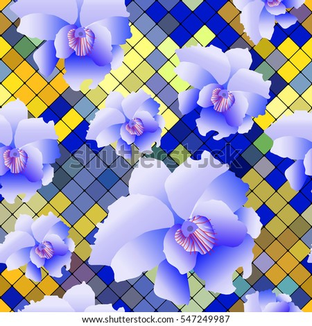 Tropical Orchid flower . Modern Nature flowers seamless mosaic pattern background . Vector
