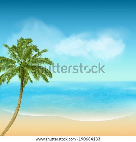 Tropical Palm Tree and Beach Landscape