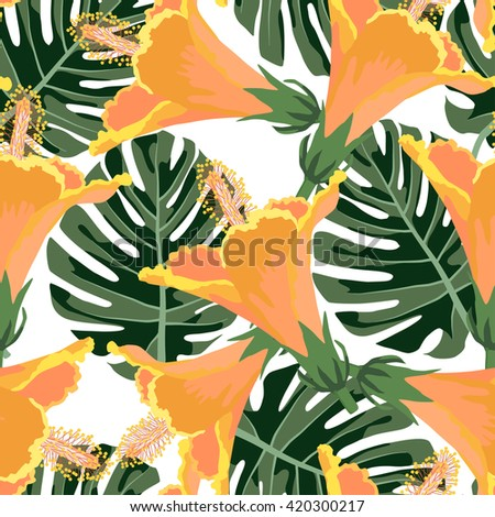 Tropical pattern.Colorful textile texture.Vector exotic print