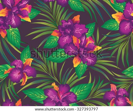 Tropical Pattern With Orchids And Palm Leaves On A Dark Background Vector Illustration