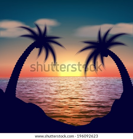 Tropical Sunset, Sunrise with Palm Trees.