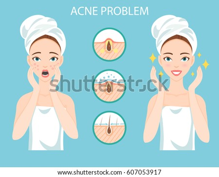 Girl Cleaning Care Her Face Various Stock Vector 386664859 ...