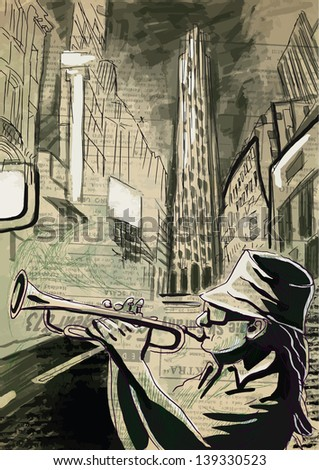 Trumpet player  - A hand drawn illustration of an musician playing trumpet on the night street - Hand drawing converted into vector (6 layers).
