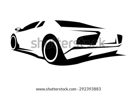 Silhouette Racing Car Sports Design Stock Vector
