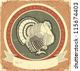 Turkey on label.Vector illustration of thanksgiving holiday on old paper texture - stock