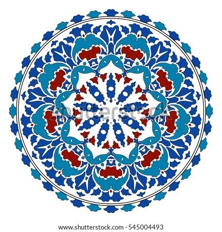 Turkish Design turkish plate islamic floral circle design stock vector 454924129